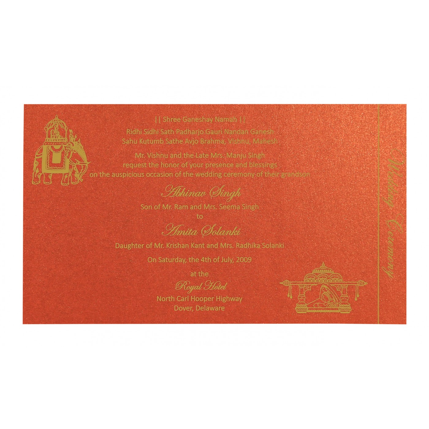 GOLD SHIMMERY DAMASK THEMED - SCREEN PRINTED WEDDING CARD : C-8257C ...