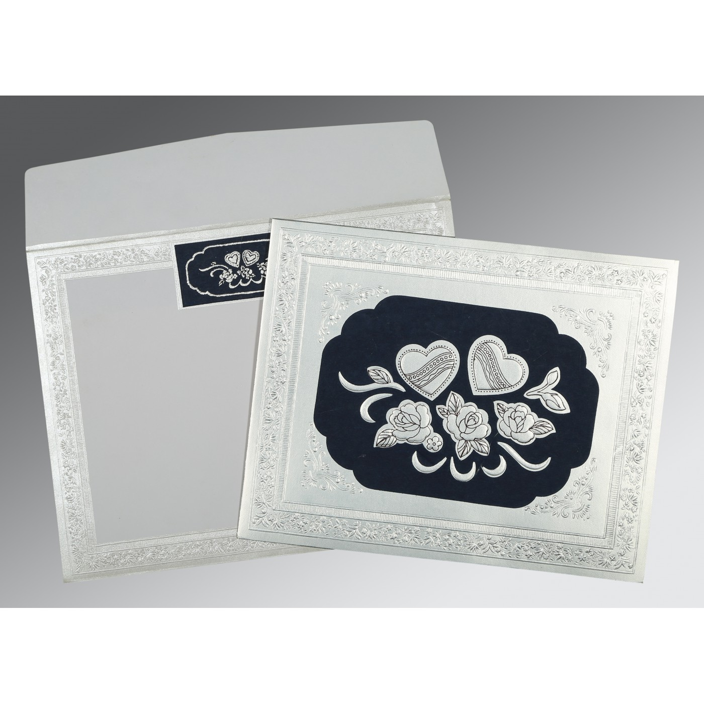 BLUE SILVER SHIMMERY FLORAL THEMED - EMBOSSED WEDDING INVITATION : C-1325 - 123WeddingCards
