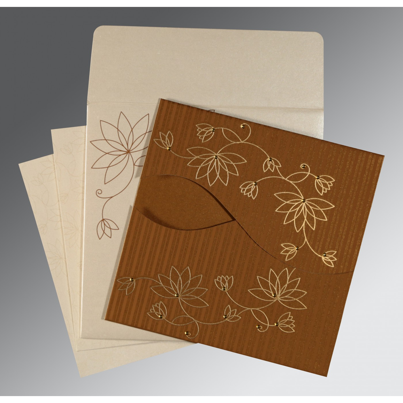 COPPER SHIMMERY FLORAL THEMED - SCREEN PRINTED WEDDING INVITATION : C-8251M - 123WeddingCards