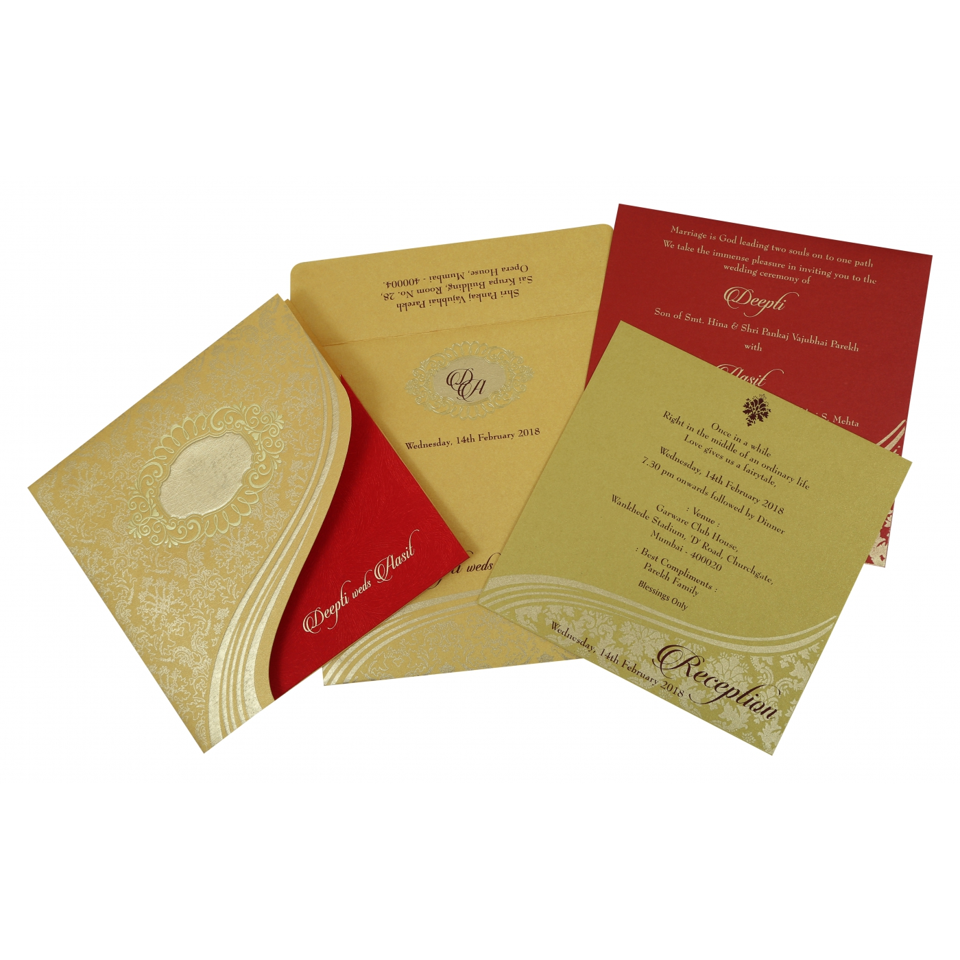 YELLOW GOLD SHIMMERY FOIL STAMPED WEDDING INVITATION : D-1798 - 123WeddingCards
