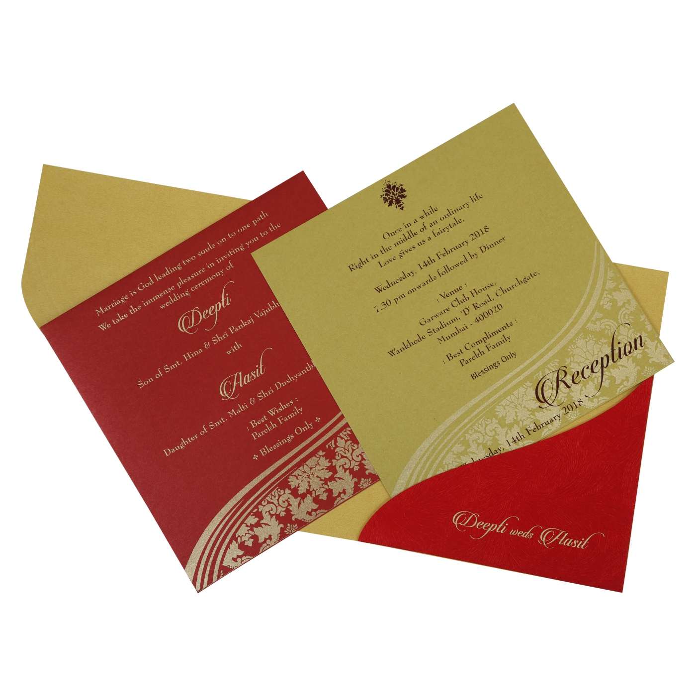 YELLOW GOLD SHIMMERY FOIL STAMPED WEDDING INVITATION : IN-1798 ...