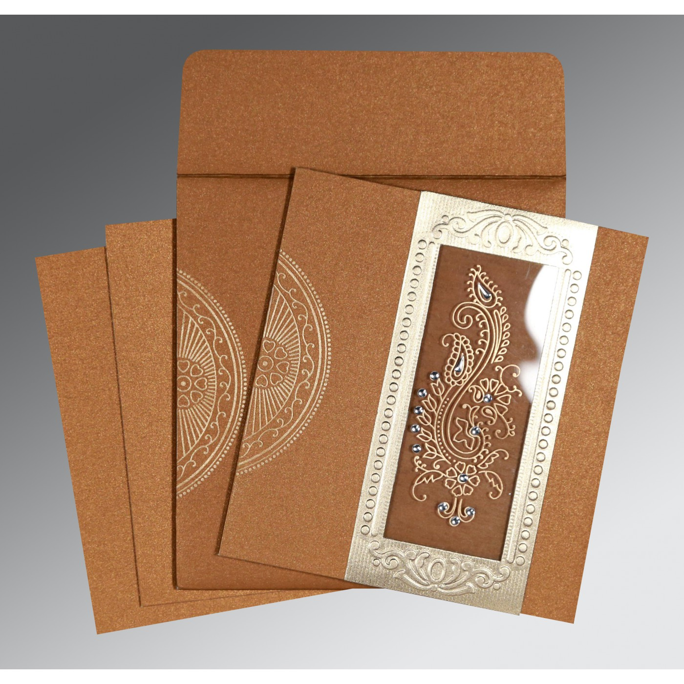 COPPER SHIMMERY FOIL STAMPED WEDDING INVITATION : C-8230Q - 123WeddingCards