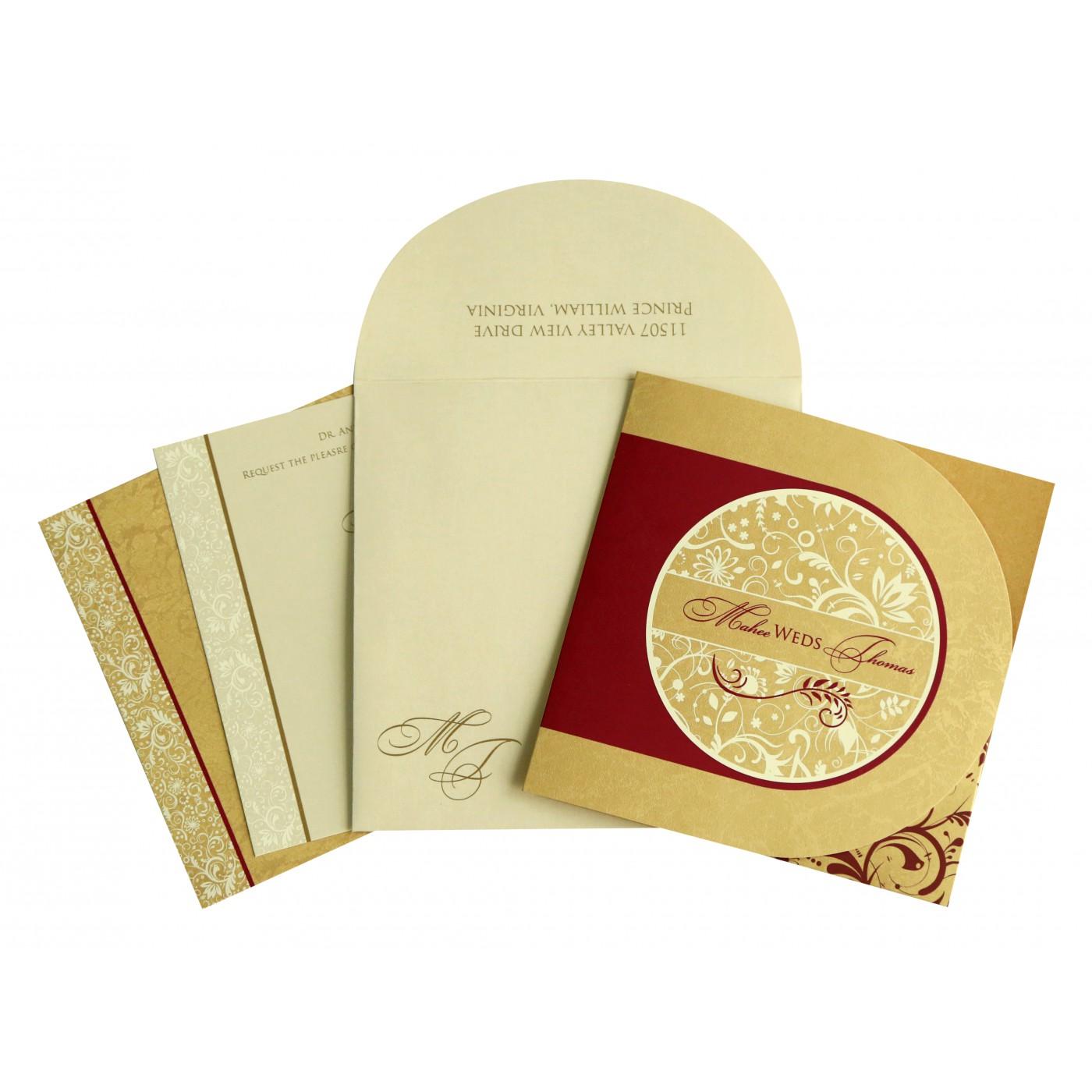 GOLD SHIMMERY FLORAL THEMED - SCREEN PRINTED WEDDING CARD : C-8264B - 123WeddingCards