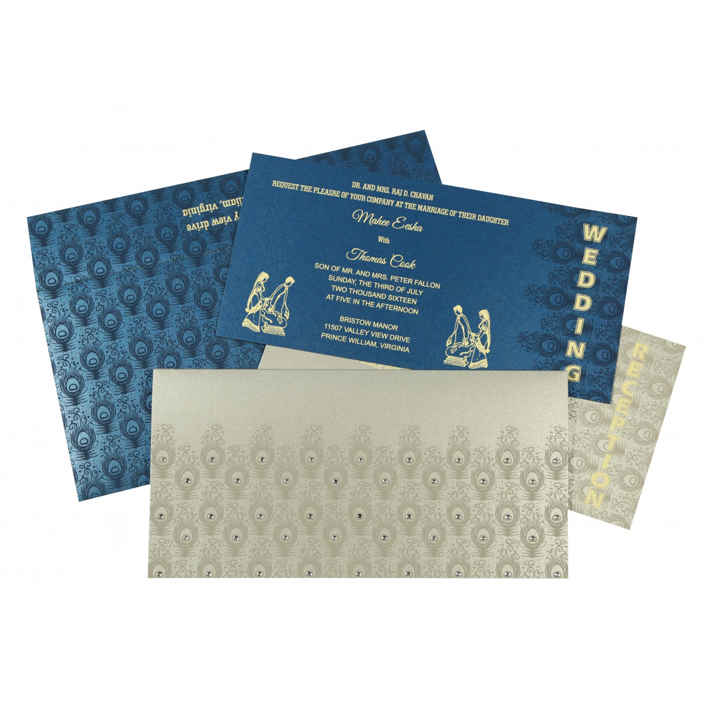 SILVER SHIMMERY PEACOCK THEMED - SCREEN PRINTED WEDDING INVITATION : D-8256H - 123WeddingCards