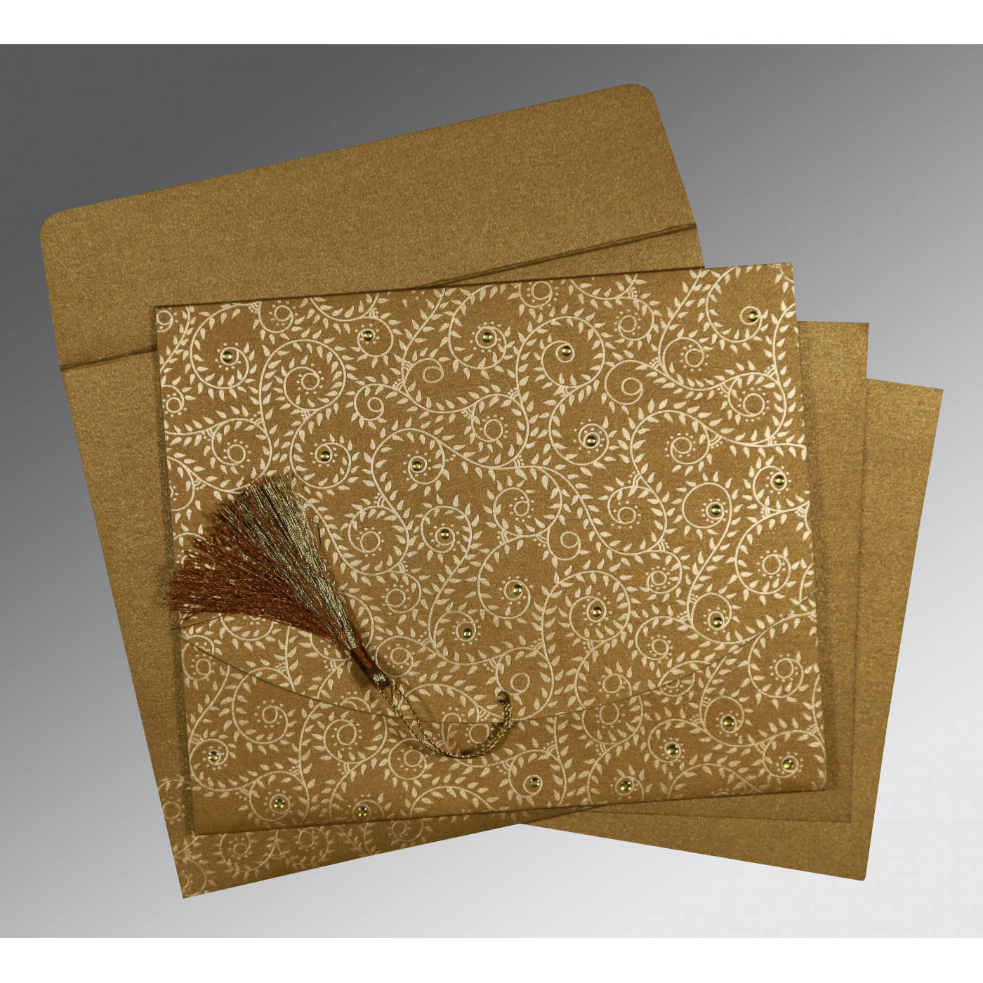 SATIN GOLD SHIMMERY SCREEN PRINTED WEDDING INVITATION : C-8217C - 123WeddingCards