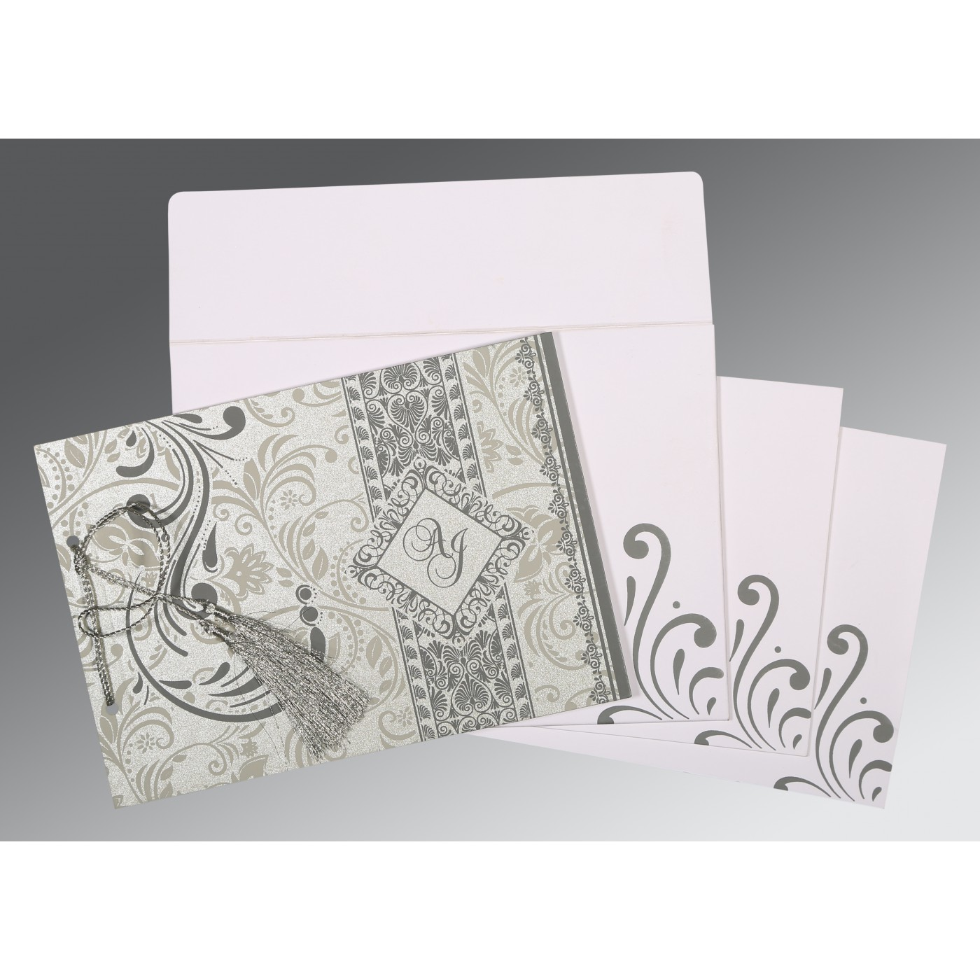 SILVER SHIMMERY SCREEN PRINTED WEDDING CARD : W-8223A - 123WeddingCards
