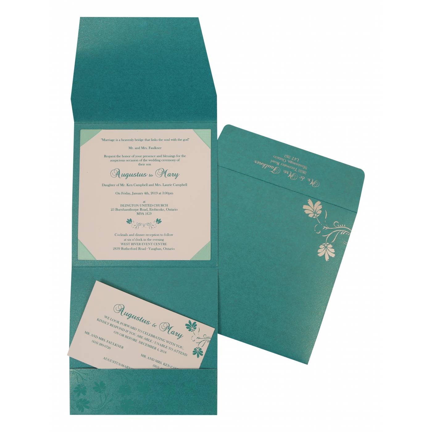 TURQUOISE BLUE SHIMMERY SCREEN PRINTED WEDDING INVITATION : C-803A - 123WeddingCards