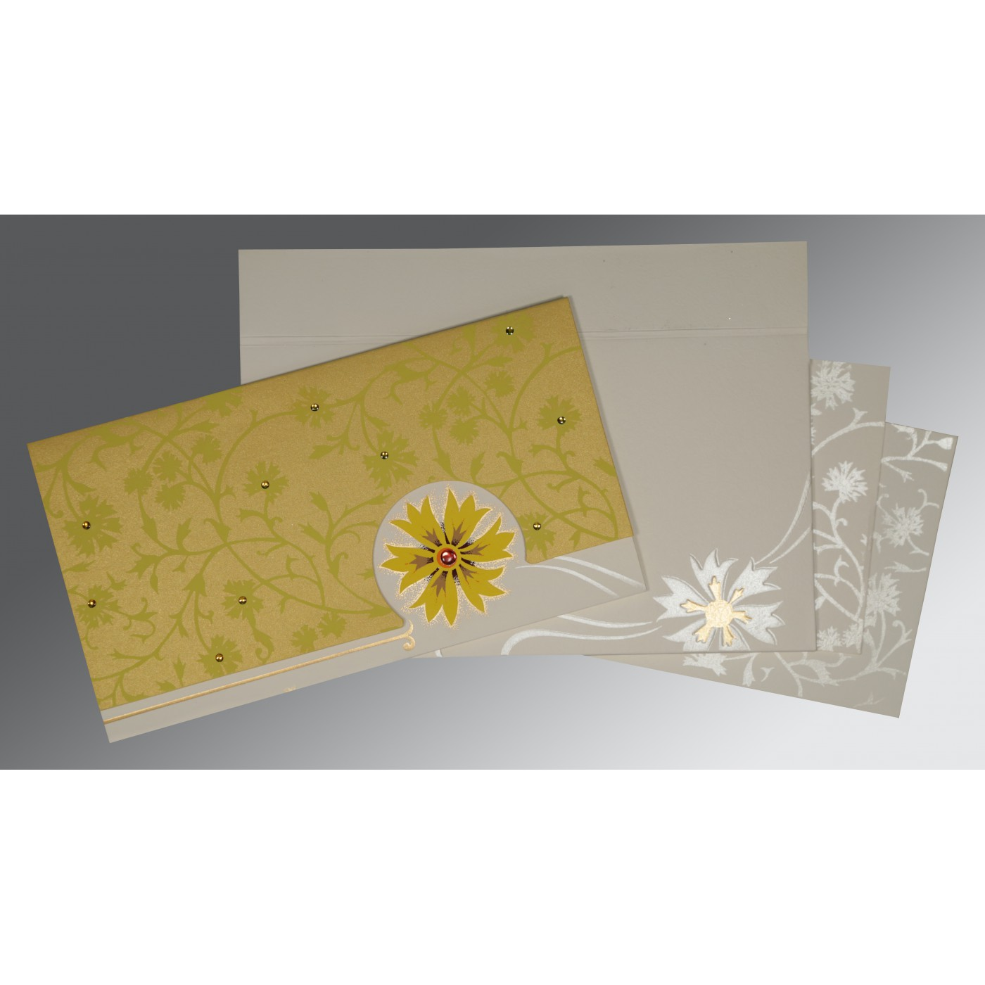 OFF-WHITE YELLOW MATTE FLORAL THEMED - EMBOSSED WEDDING CARD : C-1380 - 123WeddingCards