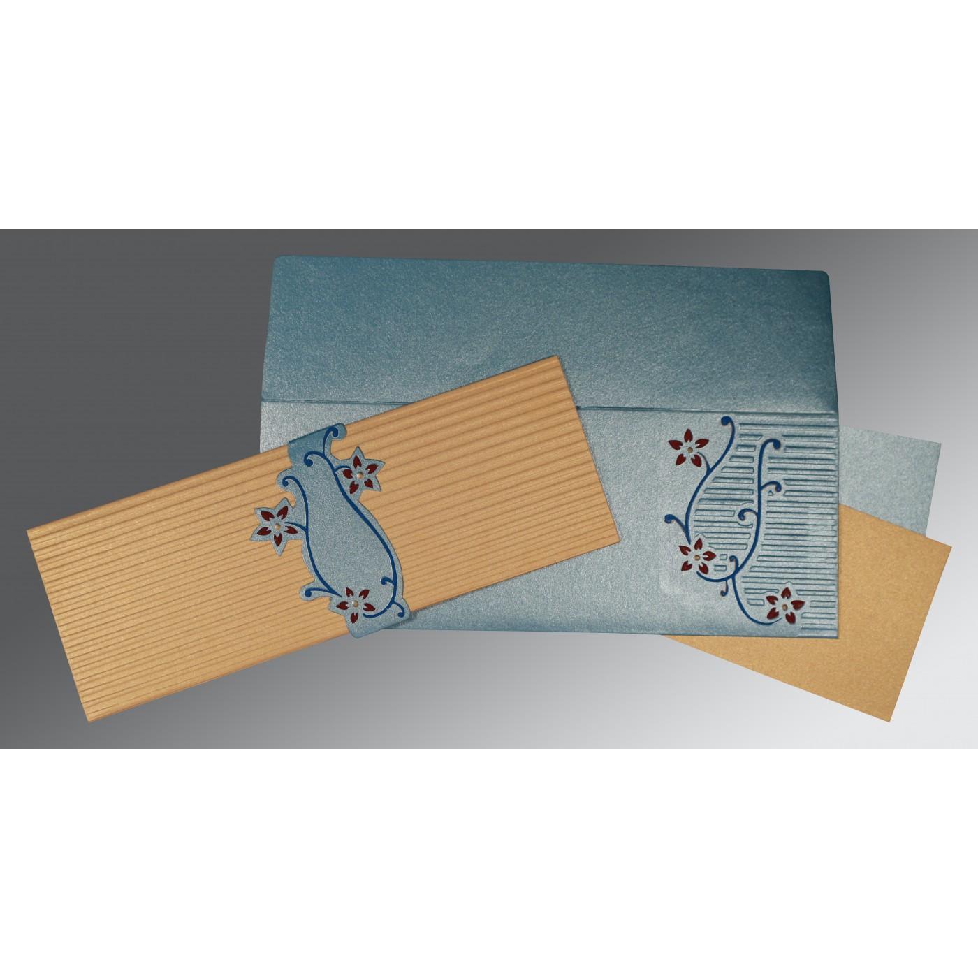 SMOKE BLUE GOLD SHIMMERY EMBOSSED WEDDING INVITATION : C-1400 - 123WeddingCards