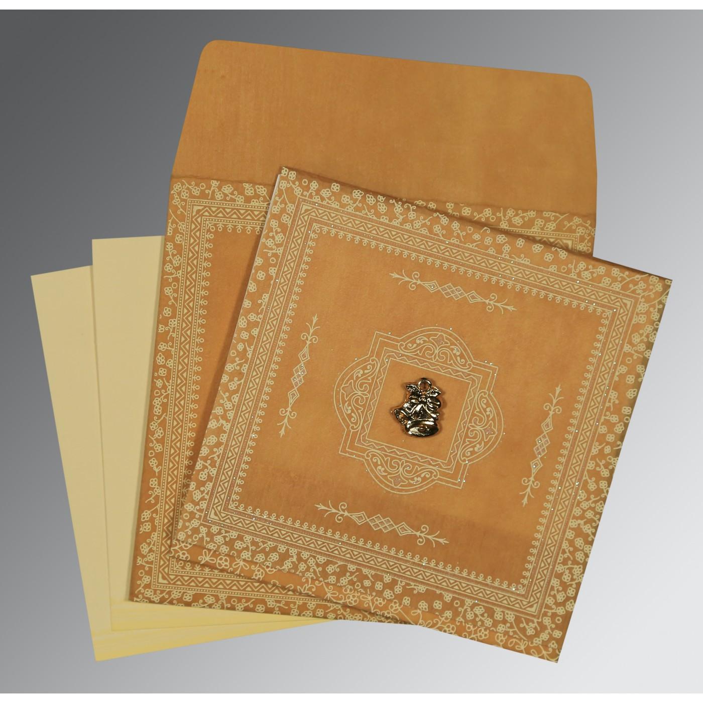 YELLOW WOOLY GLITTER WEDDING CARD : C-8205D - 123WeddingCards