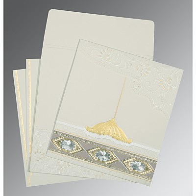 OFF-WHITE MATTE BOX THEMED - FOIL STAMPED WEDDING CARD : IN-1228 - 123WeddingCards