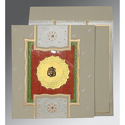 KHAKI MATTE EMBOSSED WEDDING CARD : IN-1144 - 123WeddingCards