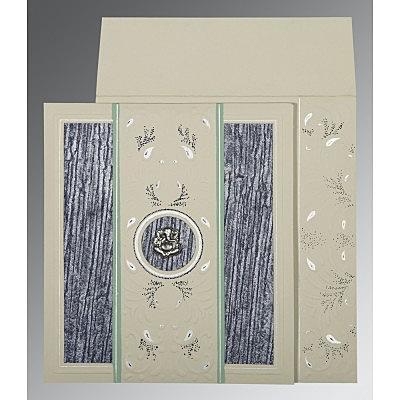 FOSSIL GREY MATTE EMBOSSED WEDDING CARD : IN-1261 - 123WeddingCards
