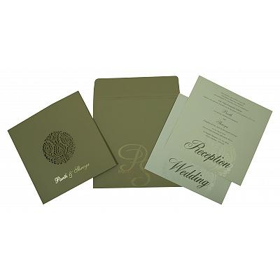 DEEP SAGE MATTE FLORAL THEMED - LASER CUT WEDDING INVITATION : D-1815 - 123WeddingCards