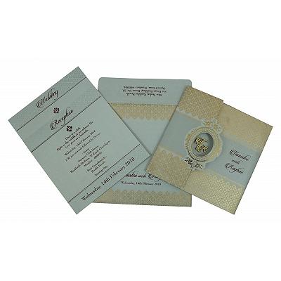 SHELL GREY SHIMMERY FOIL STAMPED WEDDING INVITATION : IN-1801 - 123WeddingCards