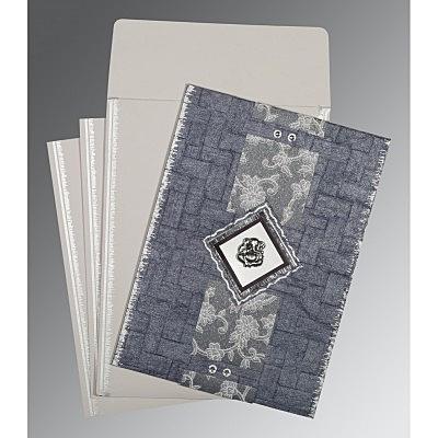 GRAYISH BLUE HANDMADE COTTON SCREEN PRINTED WEDDING CARD : IN-1277 - 123WeddingCards