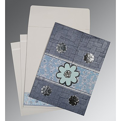 GRAYISH BLUE MATTE FLORAL THEMED - EMBOSSED WEDDING CARD : IN-1285 - 123WeddingCards