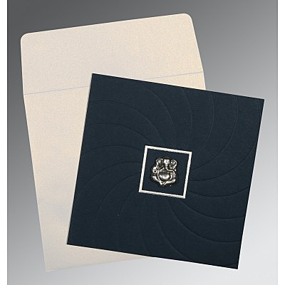 PRUSSIAN BLUE MATTE POCKET THEMED - EMBOSSED WEDDING CARD : IN-1436 - 123WeddingCards