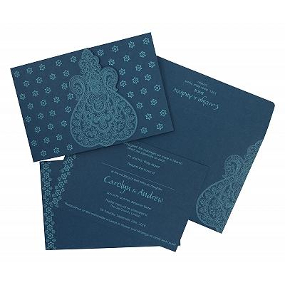 TEAL BLUE SCREEN PRINTED WEDDING INVITATION : IN-801E - 123WeddingCards