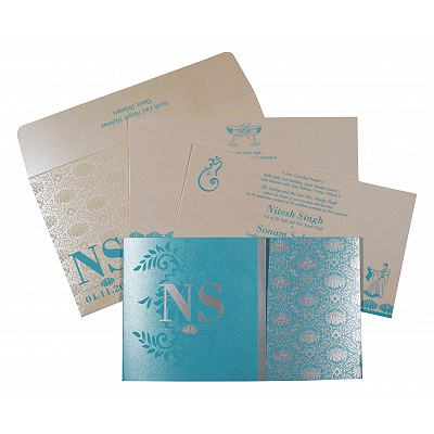 TURQUOISE BLUE SHIMMERY DAMASK THEMED - SCREEN PRINTED WEDDING INVITATION : IN-8261E - 123WeddingCards