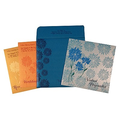 COBALT BLUE SHIMMERY FLORAL THEMED - EMBOSSED WEDDING CARD : IN-1760 - 123WeddingCards