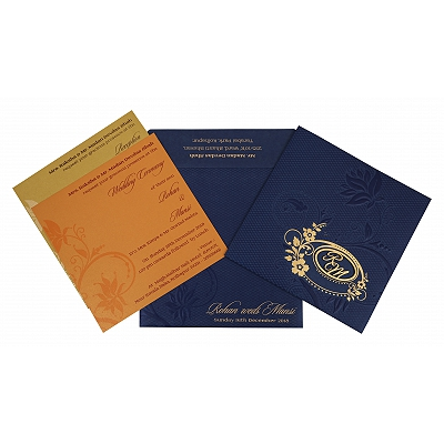 NAVY BLUE SHIMMERY FLORAL THEMED - FOIL STAMPED WEDDING INVITATION : IN-1774 - 123WeddingCards
