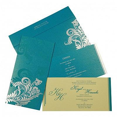 CYAN BLUE SHIMMERY FLORAL THEMED - SCREEN PRINTED WEDDING CARD : IN-8259B - 123WeddingCards