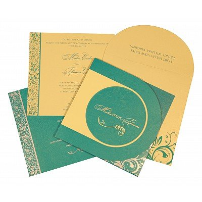 STRONG TURQUOISE SHIMMERY FLORAL THEMED - SCREEN PRINTED WEDDING CARD : IN-8264C - 123WeddingCards