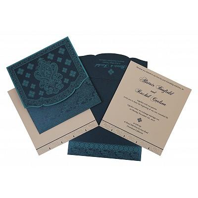 TEAL BLUE SHIMMERY SCREEN PRINTED WEDDING INVITATION : IN-800C - 123WeddingCards