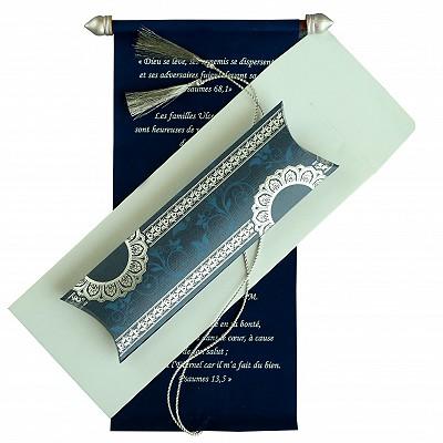 BLUE VELVET WEDDING CARD : SC-5010A - 123WeddingCards