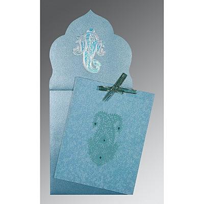 TOPAZ BLUE WOOLY SCREEN PRINTED WEDDING INVITATION : IN-1382 - 123WeddingCards