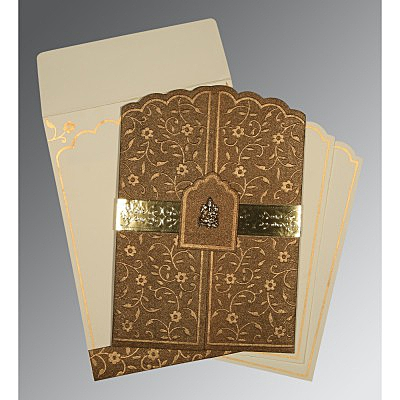 MCKENZIE GOLD HANDMADE SHIMMER FLORAL THEMED - EMBOSSED WEDDING INVITATION : IN-1422 - 123WeddingCards