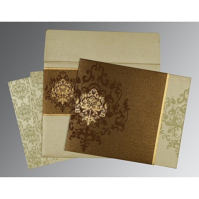 BROWN SHIMMERY DAMASK THEMED - SCREEN PRINTED WEDDING CARD : IN-8253A - 123WeddingCards