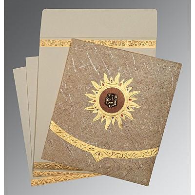 DESERT SAND WOOLY EMBOSSED WEDDING CARD : IN-1225 - 123WeddingCards