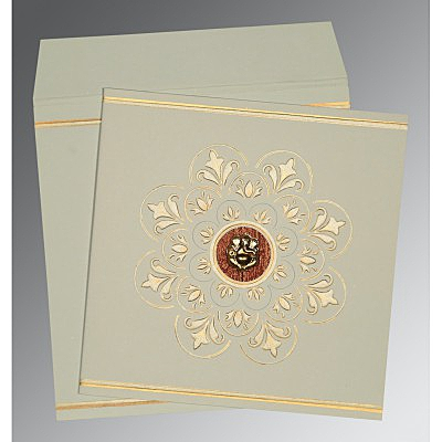 OFF-WHITE MATTE BOX THEMED - EMBOSSED WEDDING CARD : IN-1190 - 123WeddingCards