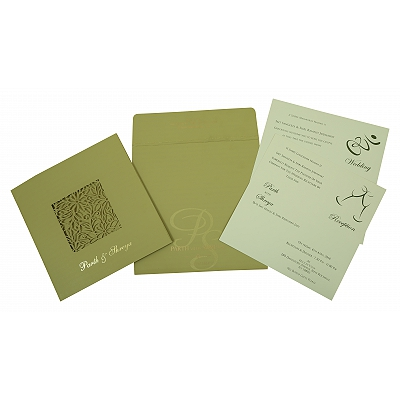 PISTA GREEN MATTE FLORAL THEMED - LASER CUT WEDDING INVITATION : D-1812 - 123WeddingCards