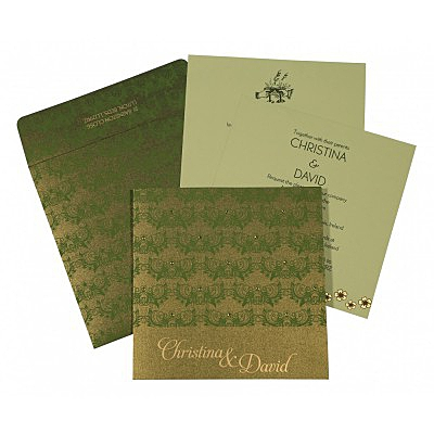 DARK GREEN SHIMMERY BUTTERFLY THEMED - SCREEN PRINTED WEDDING CARD : IN-8258B - 123WeddingCards