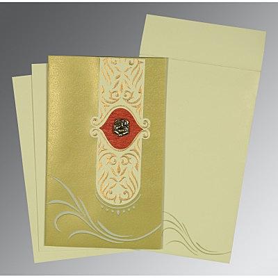 APPLE GREEN MATTE EMBOSSED WEDDING CARD : IN-1317 - 123WeddingCards