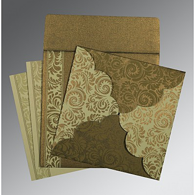 GREEN SHIMMERY FLORAL THEMED - SCREEN PRINTED WEDDING CARD : IN-8235A - 123WeddingCards