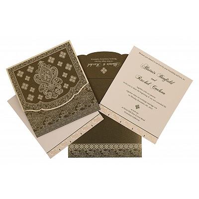 DEEP SAGE SHIMMERY SCREEN PRINTED WEDDING INVITATION : IN-800A - 123WeddingCards