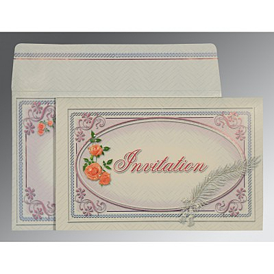 IVORY EMBOSSED WEDDING CARD : IN-1327 - 123WeddingCards