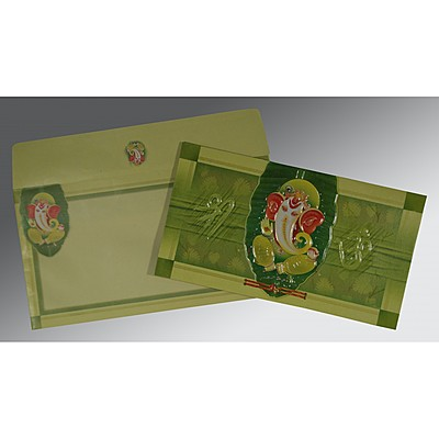 LIGHT GREEN EMBOSSED WEDDING INVITATION : IN-2225 - 123WeddingCards