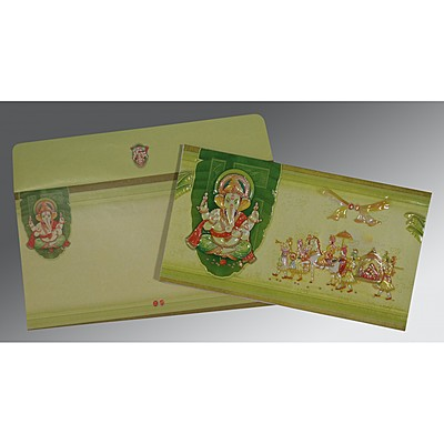 LIGHT GREEN EMBOSSED WEDDING CARD : IN-2226 - 123WeddingCards