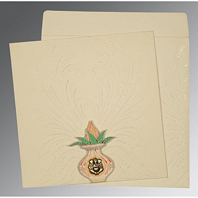 IVORY MATTE EMBOSSED WEDDING INVITATION : IN-1188 - 123WeddingCards