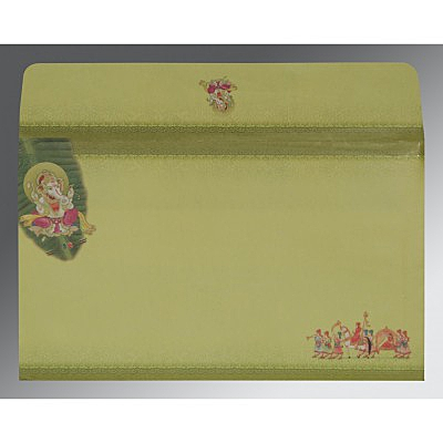 LIGHT GREEN MATTE EMBOSSED WEDDING INVITATION : IN-2084 - 123WeddingCards