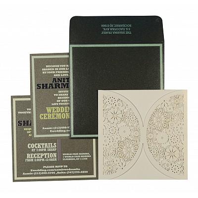 WHITE SHIMMERY FLORAL THEMED - LASER CUT WEDDING CARD : C-1594 - 123WeddingCards