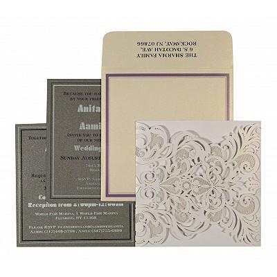 WHITE SHIMMERY FLORAL THEMED - LASER CUT WEDDING INVITATION : C-1592 - 123WeddingCards