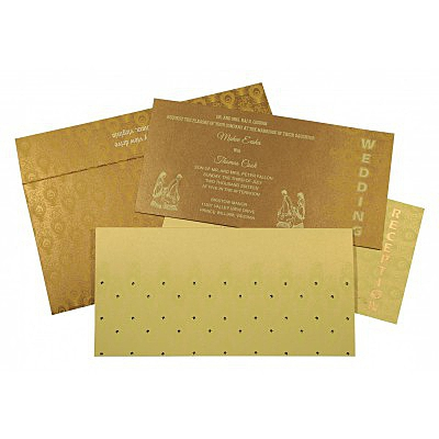 CREAM GOLD SHIMMERY PEACOCK THEMED - SCREEN PRINTED WEDDING INVITATION : IN-8256A - 123WeddingCards