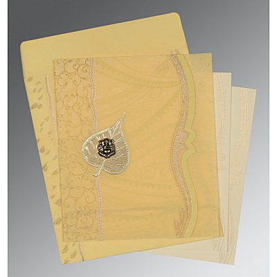 MUSTARD YELLOW SHIMMERY EMBOSSED WEDDING CARD : IN-8210G - 123WeddingCards