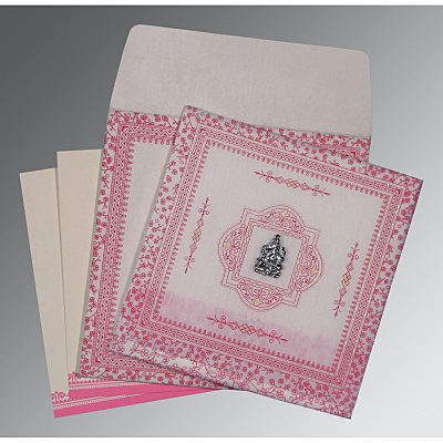 IVORY WOOLY GLITTER WEDDING CARD : IN-8205A - 123WeddingCards